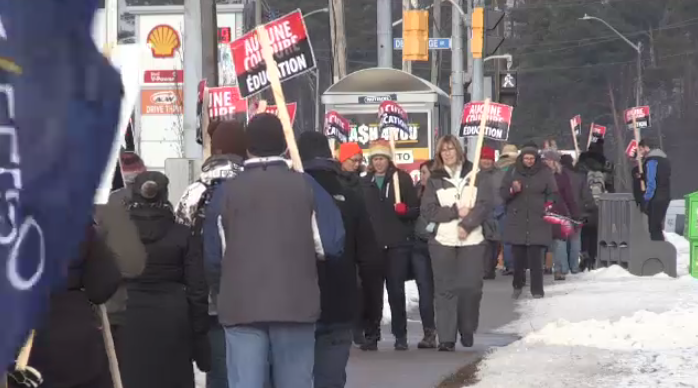 Teachers on strike in Kitchener.
