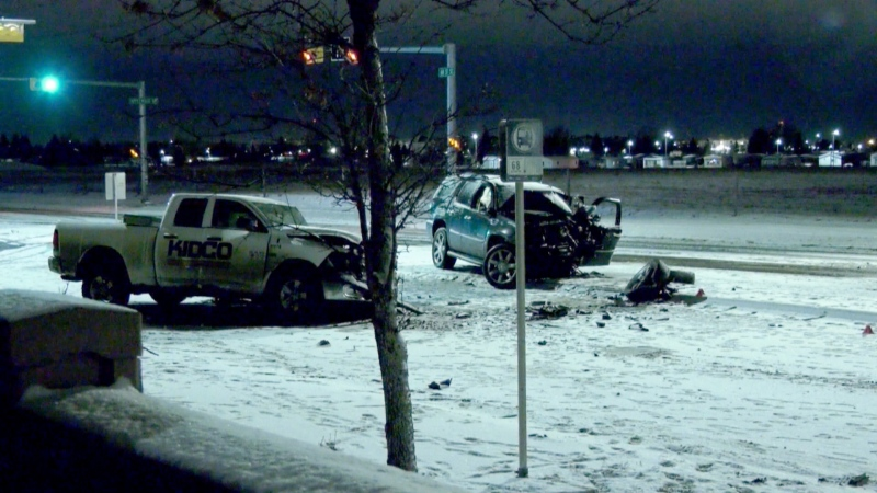 A 46-year-old man was killed in a two-vehicle crash in southeast Calgary on Wednesday.