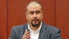 FILE - In this Sept. 13, 2016, file photo, George Zimmerman looks at the jury as he testifies in a Seminole County courtroom in Orlando, Fla. Zimmerman, the ex-neighborhood watch volunteer who killed an unarmed black teen in Florida in 2012 has been banned from the dating app Tinder. An emailed statement from Tinder cited users' safety as a reason for removing George Zimmerman's profile. (Red Huber/Orlando Sentinel via AP, Pool, File)