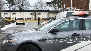 Police investigate after a shooting in the Islington Avenue and Steeles Avenue West area on Dec. 5. (Ted Brooks / CTV News Toronto)