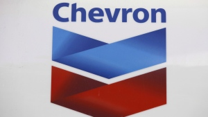 A Chevron logo appears at a gas station in Miami on July 25, 2011. THE CANADIAN PRESS/AP, Lynne Sladky
