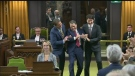 Tradition in Parliament is the new speaker is dragged by the Prime Minister and official opposition leader. December 5, 2019. (CTV News)