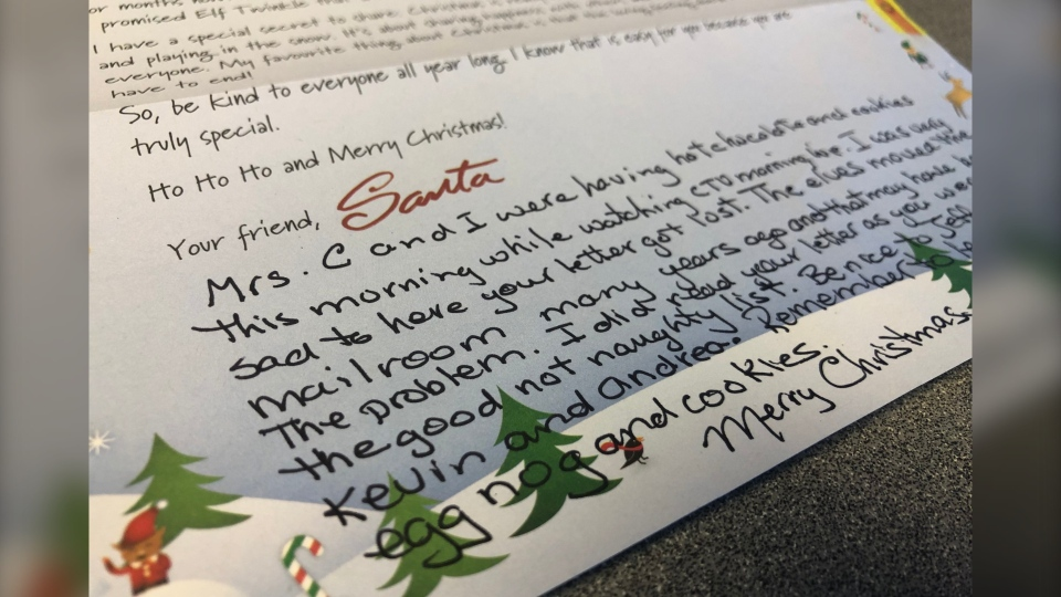 A handwritten note accompanying Santa's letter to CTV Morning Live co-host Joelle Tomlinson.