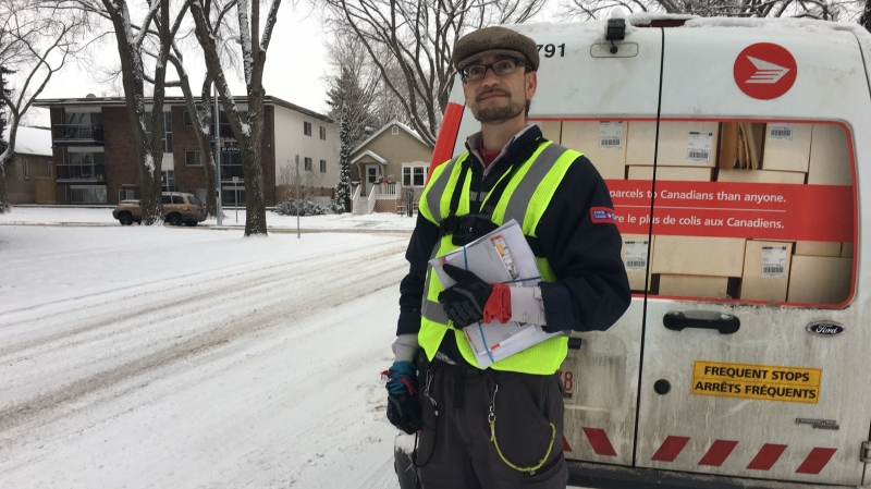 Canada Post worker Benjamin Harrison has been dubbed 'the singing mailman' by residents of an Edmonton neighbourhood. Dec. 4, 2019. (CTV News Edmonton)