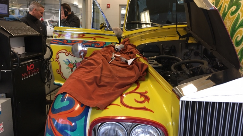 The late Beatles star originally bought the car in June 1965 and covered its black exterior with a vibrant yellow custom paint job. (CTV Vancouver Island)