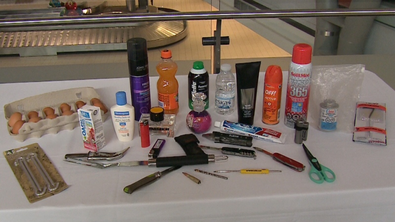 A look at some of the items not allowed in a carry-on bag.
