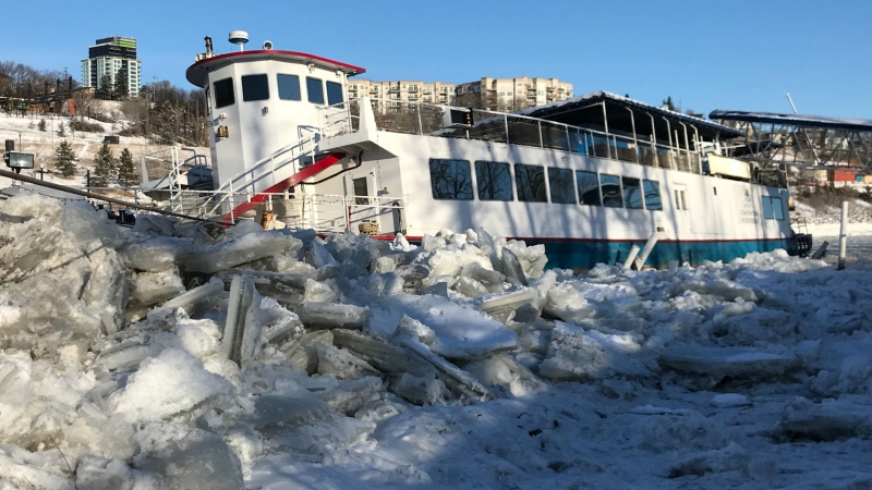 The Edmonton Riverboat was left at an angle after the river rose dramatically on Dec. 4, 2019. (Galen McDougall/CTV News Edmonton)