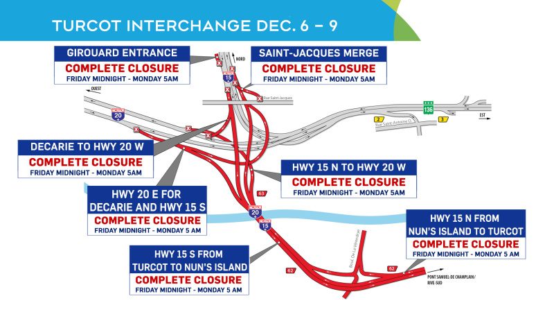 Turcot closures, weekend of Dec. 6.