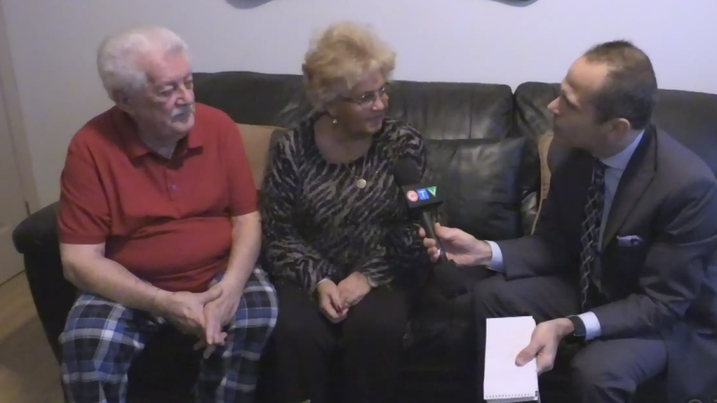 Otmar Rosenberger and his wife Christina Godoy speak with CTV's Nick Paparella, right, in London, Ont. on Thursday, Dec. 5, 2019.