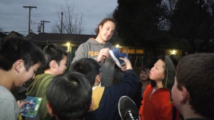 Canuck forward Jay Beagle played a game of street hockey with some local kids in Strathcona's MacLean Park on Dec. 5, 2019.