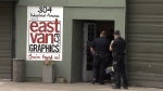 A heavy police presence is seen at East Van Graphics following a May 18, 2018 shooting that killed a woman's unborn baby.