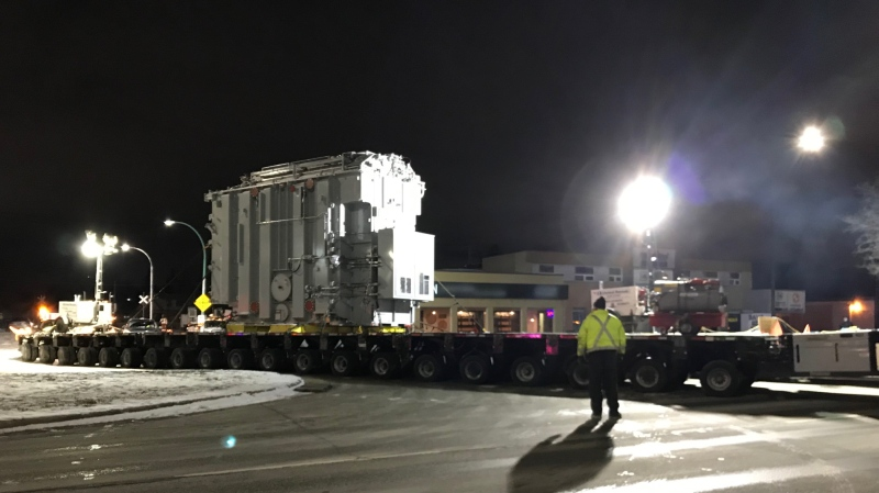 The journey of the nearly 200-tonne transformer got underway Thursday night.