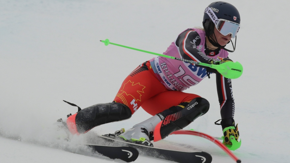 Canada's Roni Remme competes during an alpine ski, women's World Cup slalom in Killington, Vt., Sunday, Dec.1, 2019. (AP Photo/Charles Krupa)