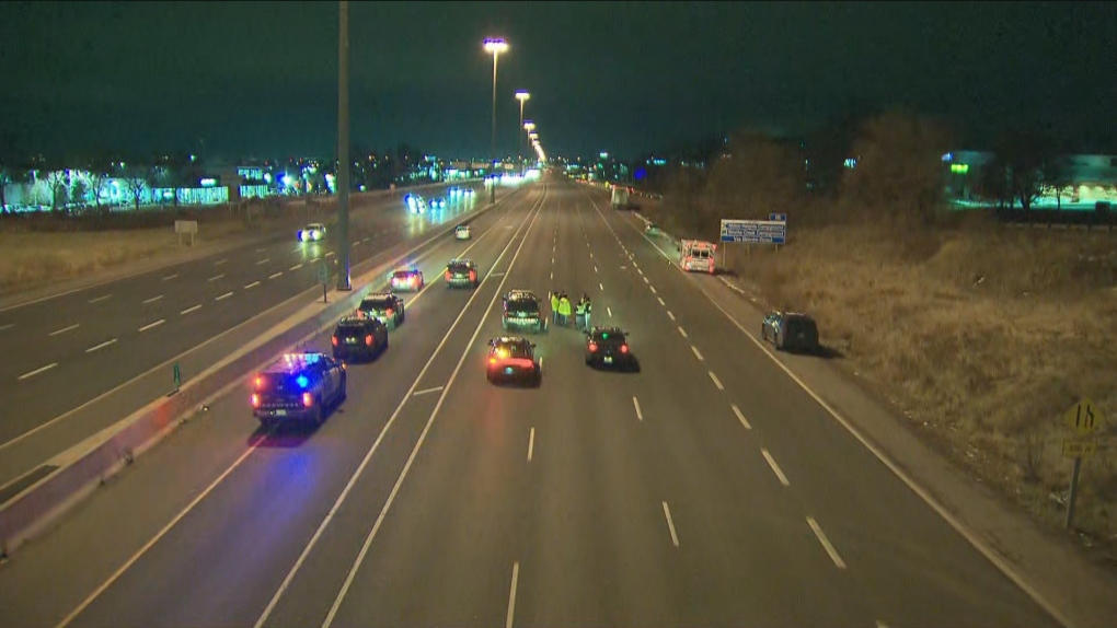 One person dead after being struck by truck on QEW in Oakville: police