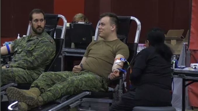 Soldiers from the 56th Field Artillery Regiment donate 56 pints during blood drive. (Dec. 5, 2019)