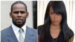 FILE - This combination photo shows singer R. Kelly after the first day of jury selection in his child pornography trial at the Cook County Criminal Courthouse in Chicago on May 9, 2008, left, the late R&B singer and actress Aaliyah during a photo shoot in New York on May 9, 2001. (AP Photo/File)