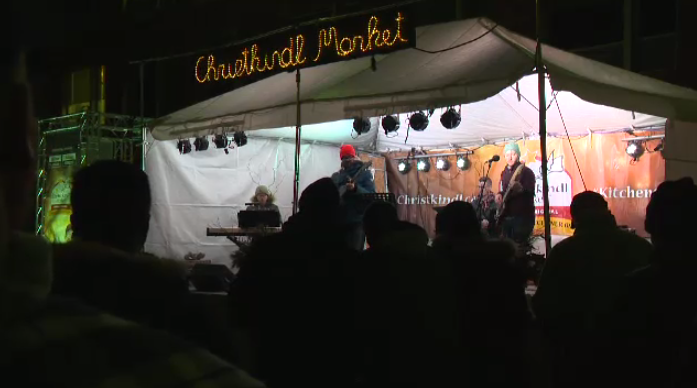 A band at the Christkindl Market.