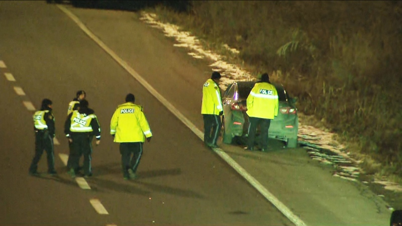 Police are shown on scene after a pedestrian was struck by a vehicle on the QEW in Oakville late Thursday night.
