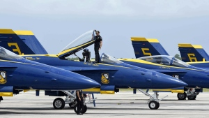 A Blue Angels jets at the Pensacola Naval Air Station, Fla., on July 11, 2019. (Devon Ravine / Northwest Florida Daily News via AP)