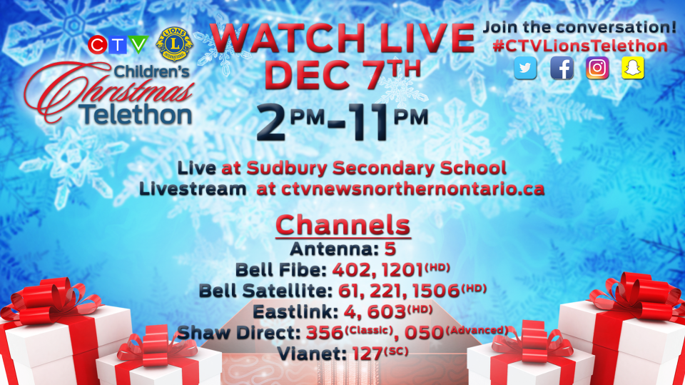 2019 CTV Lions Children's Christmas Telethon is Saturday, December 7 from 2 - 11 p.m.