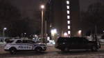 Police work at the scene of a standoff at an apartment building on Simcoe Street in London, Ont. on Thursday, Dec. 5, 2019. (Morgan Baker / CTV London)