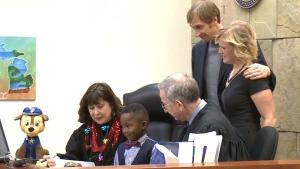 Boy invites entire kindergarten class to adoption