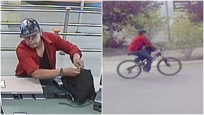 Police are looking for a bank robbery suspect who fled on a bicycle. (Calgary police)