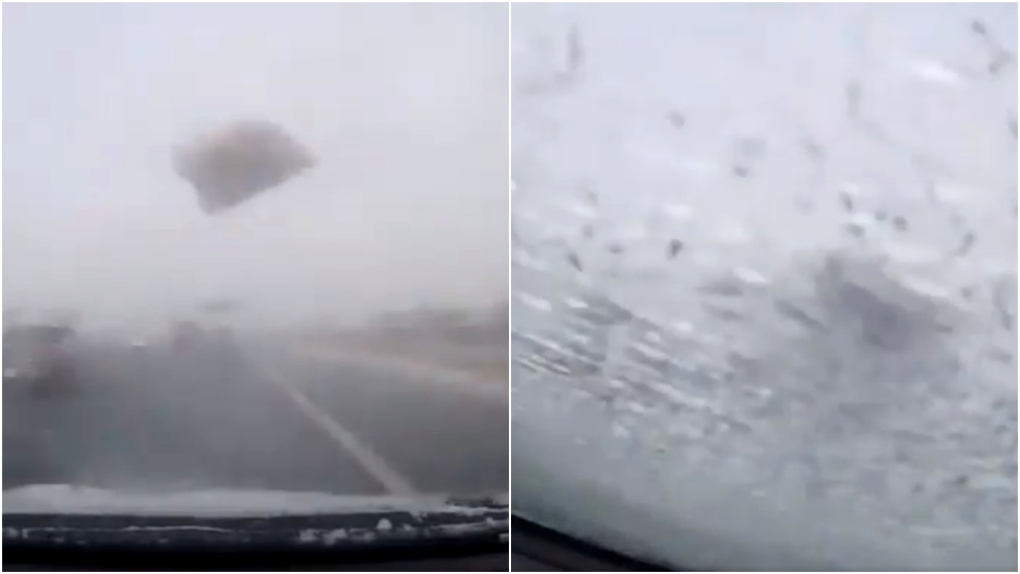 Video shows moment ice slab smashes driver's windshield on GTA highway