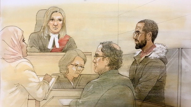 Ikar Mao, 22, appeared in a Brampton, Ont. court on Friday, Dec. 6, 2019 after being arrested on terrorism-related offences. Mao is depicted in this court sketch. (John Mantha)
