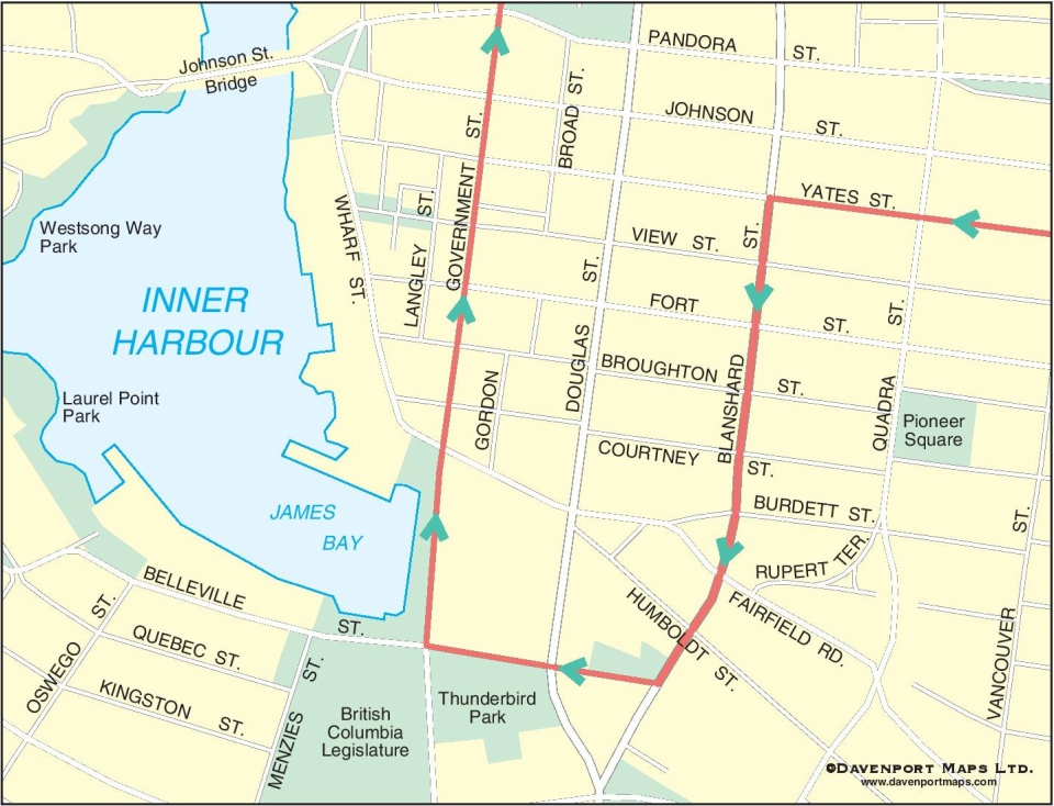 A map of the 21st annual IEOA Truck Light Convoy and Food Drive's route through downtown Victoria: (IEOA)