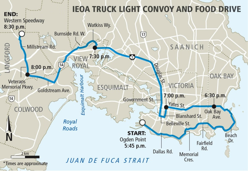 A map of the full route for the 21st annual IEOA Truck Light Convoy and Food Drive: (IEOA)