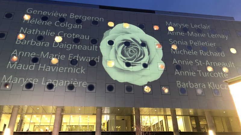The University of Ottawa held a vigil to commemorate the 30th anniversary of the Montreal massacre, and projected the names of the 14 victims onto the exterior wall of the Stem Building.