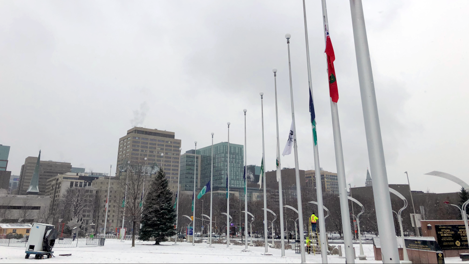 Flags at Ottawa City Hall were lowered at half-mast on Friday to mark the 30th anniversary of the Montreal massacre.
