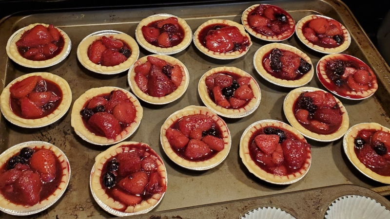 Fresh tarts made by Langford Legion members are shown being prepared Friday morning for Friday evening's bake sale: (Natalie Lemire)