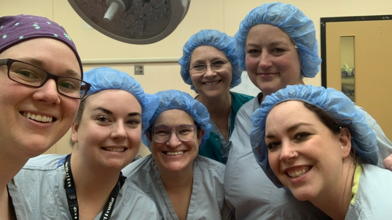 Dr. Erin Beresh (left),  Dr. Stephanie Nyberg, Pat Shiels, Marilyn Kiefer, Leeann Vhal and Dr. Chelsea Wilgenbusch were part of an all-woman team last month at Melfort Hospital. (Courtesy Erin Beresh)