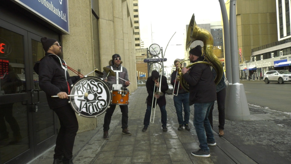 New brass band roaming Edmonton streets, when security doesn't mind