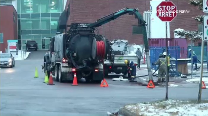 Cleanup crews were still working on a spill just outside of the Moncton Hospital on Friday. (COURTESY WADE PERRY)