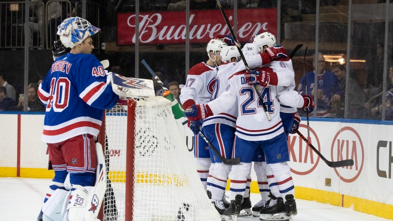 New York Rangers goaltender Alexandar Georgiev (40) reacts as the Montreal Canadiens celebrate a goal by right wing Brendan Gallagher (11) during the first period of an NHL hockey game Friday, Dec. 6, 2019, at Madison Square Garden in New York. (AP Photo/Mary Altaffer)