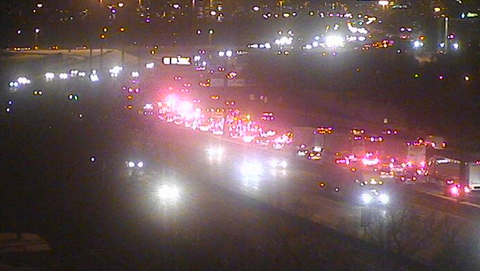 OPP are on the scene of a collision on the westbound express lanes of Highway 401 near Warden Avenue. (MTO)