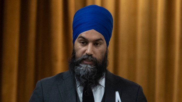 NDP Leader Jagmeet Singh rises in the House of Commons on the anniversary of the 1989 Ecole Polytechnique Montreal tragedy Friday, December 6, 2019 in Ottawa. (THE CANADIAN PRESS/Adrian Wyld)