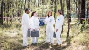 "Shari Forbes, second from the right, is the director of the first ""body farm"" in Canada."