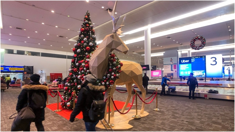 Over 260 Christmas decorations have been installed throughout Toronto Pearson International Airport. (CTV News Toronto/Tom Podolec)