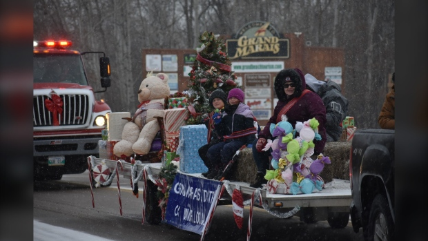 Manitobans have started to get into the holiday spirit, taking part in a breakfast with Santa and parade in Grand Marais, Man. (Source: John Schneider)