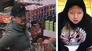 RCMP have released surveillance photos taken from a gas station in High Level on Dec. 1 of a man and woman and are seeking the public's help in identifying them. (Supplied)