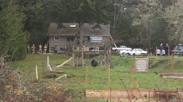 One person was injured after a fire at a View Royal house on Saturday. (CTV News, Eric Llloyd)
