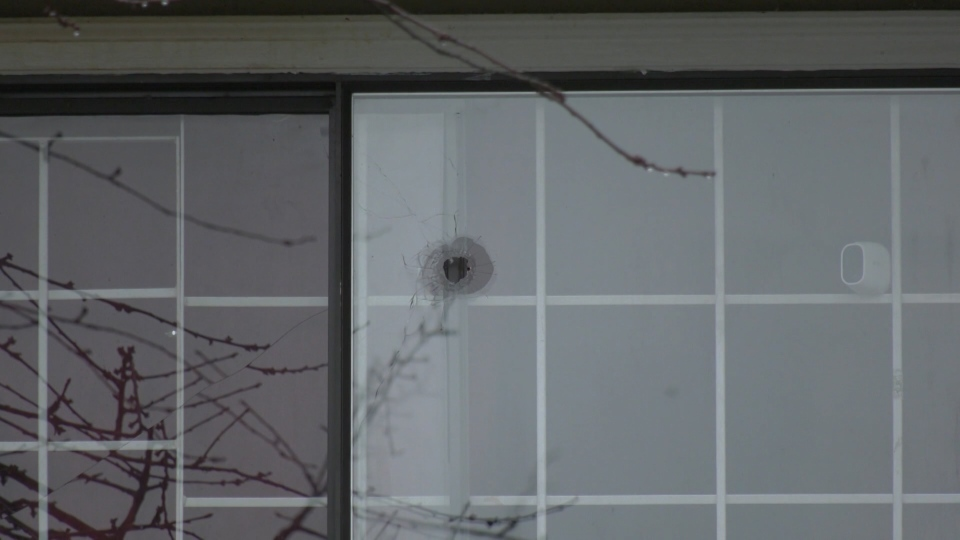 An exchange of gunfire left one Surrey home riddled with bullet holes. (CTV)