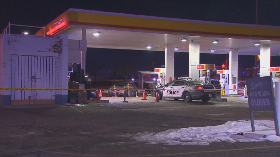 Police say three people were found with suffering from gunshot wounds at a gas station near Finch Avenue West and Weston Road on Saturday night. (CTV News Toronto)