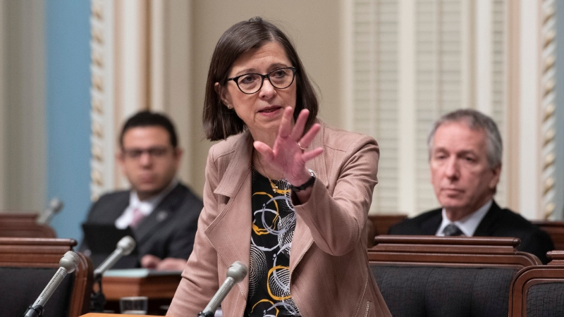 Quebec Health Minister Danielle McCann responds to the Opposition during question period Saturday, December 7, 2019 at the legislature in Quebec City. THE CANADIAN PRESS/Jacques Boissinot