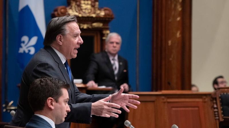 Quebec Premier Francois Legault responds to the Opposition during question period, Saturday, December 7, 2019 at the legislature in Quebec City. For the third time since taking power in October 2018, the Legault government will use closure to push a law through the National Assembly. THE CANADIAN PRESS/Jacques Boissinot