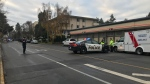 Victoria police have closed off Richmond Avenue as officers deal with a standoff at an apartment building on Sunday, Dec. 8, 2019. (Alanna Kelly/ CTV Vancouver Island)
